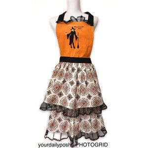 Halloween embroidered witchy orange kitchen apron